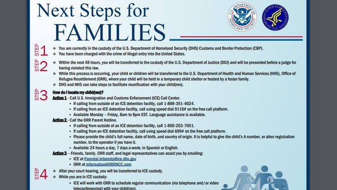 Flier from federal government for families who have been separated.