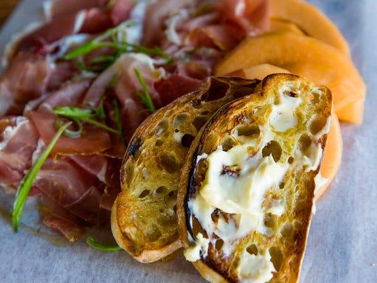 Prosciutto, cantaloupe, scallion, bread and butter