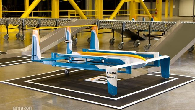 A new drone prototype Amazon is testing for its Prime Air delivery service.