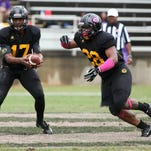 Grambling quarterback Johnathan Williams, left, and running back Jestin Kelly will play a key role in the Tigers' 2015 offense.