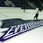 File: Everblades logo on center ice of Germain arena in Estero.