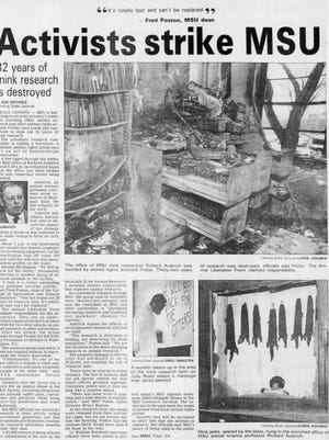 The front page of the Lansing State Journal Feb. 29, 1992. A firebomb attack the day before caused significant damage and destroyed decades of animal research.