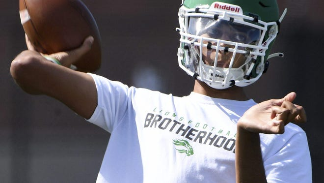 South Fayette quarterback Naman Alemada throws a pass during practice on Aug. 20, at South Fayette. Christopher Horner | Tribune-Review