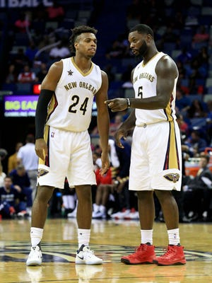 New Orleans Pelicans guard Buddy Hield (24) talks with guard Lance Stephenson (5) during the second half of a game against the Indiana Pacers at the Smoothie King Center. The Pacers defeated the Pelicans 113-96.