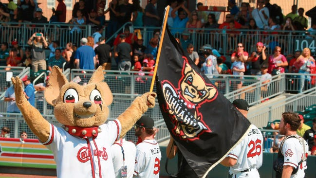Chico waves the Chihuahuas flag celebrating a victory in at Southwest University Park.
