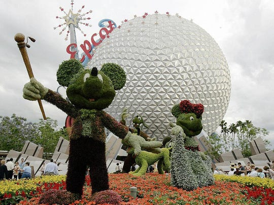 Topiaries of Mickey Mouse and other Disn