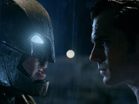 """Henry Cavill, right, and Ben Affleck in """"Batman v Superman:"""