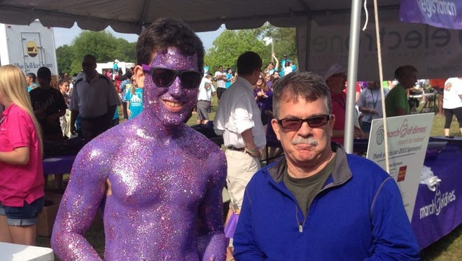Purple is the theme color for the annual March for Babies event, but you don't have to go this far. Join us April 30.