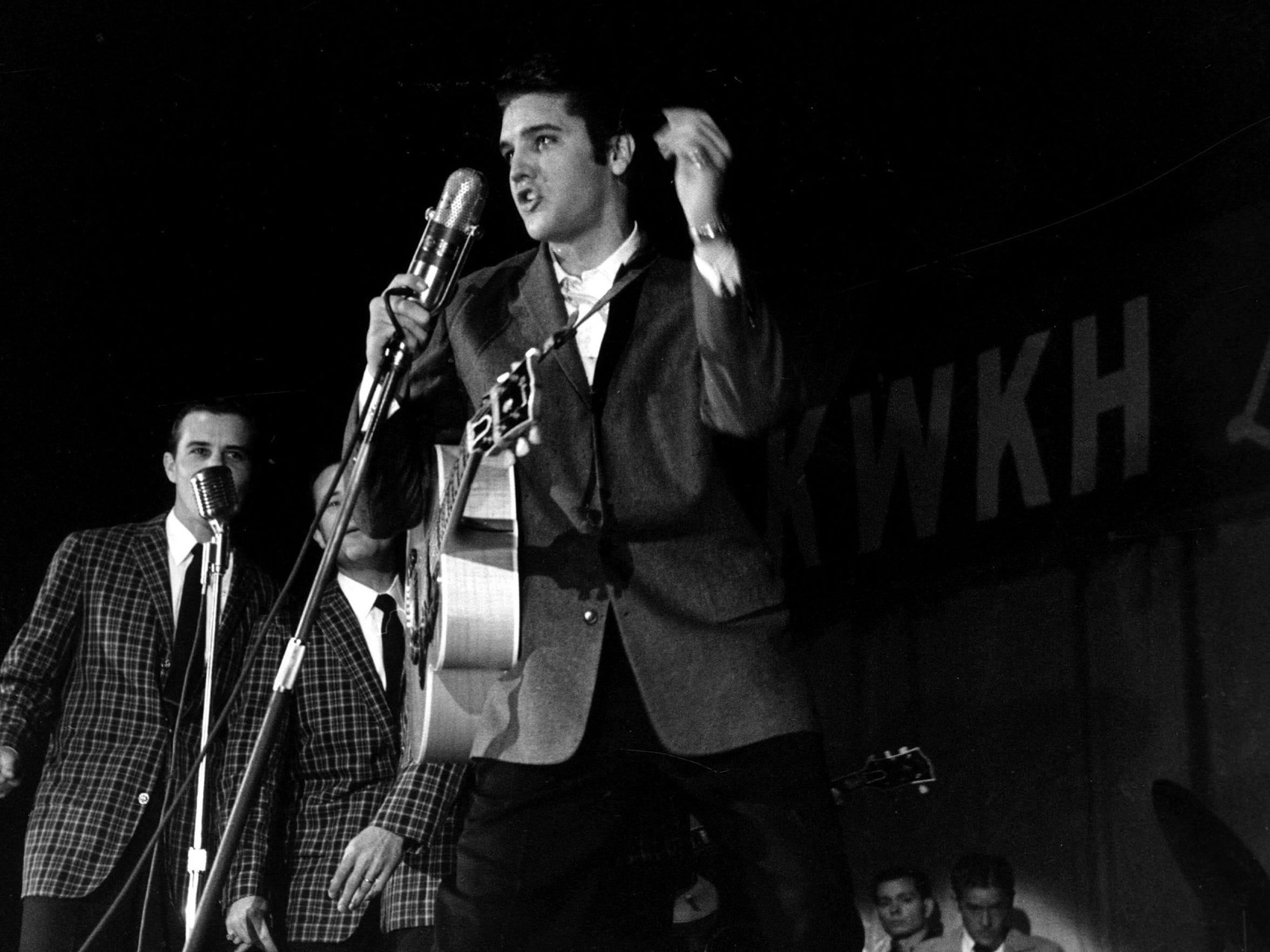 Elvis Presley at Louisiana Hayride show, Fair Grounds.