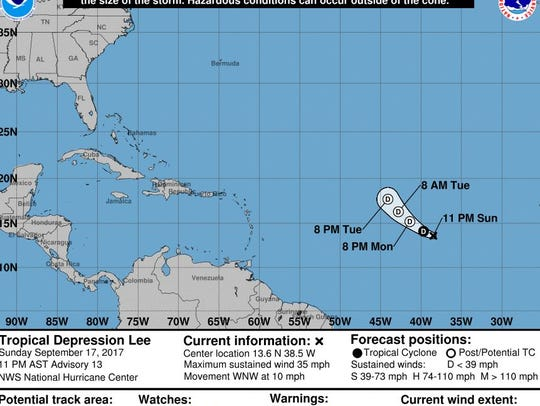 The official track forecast for TD Lee as of 11 p.m.