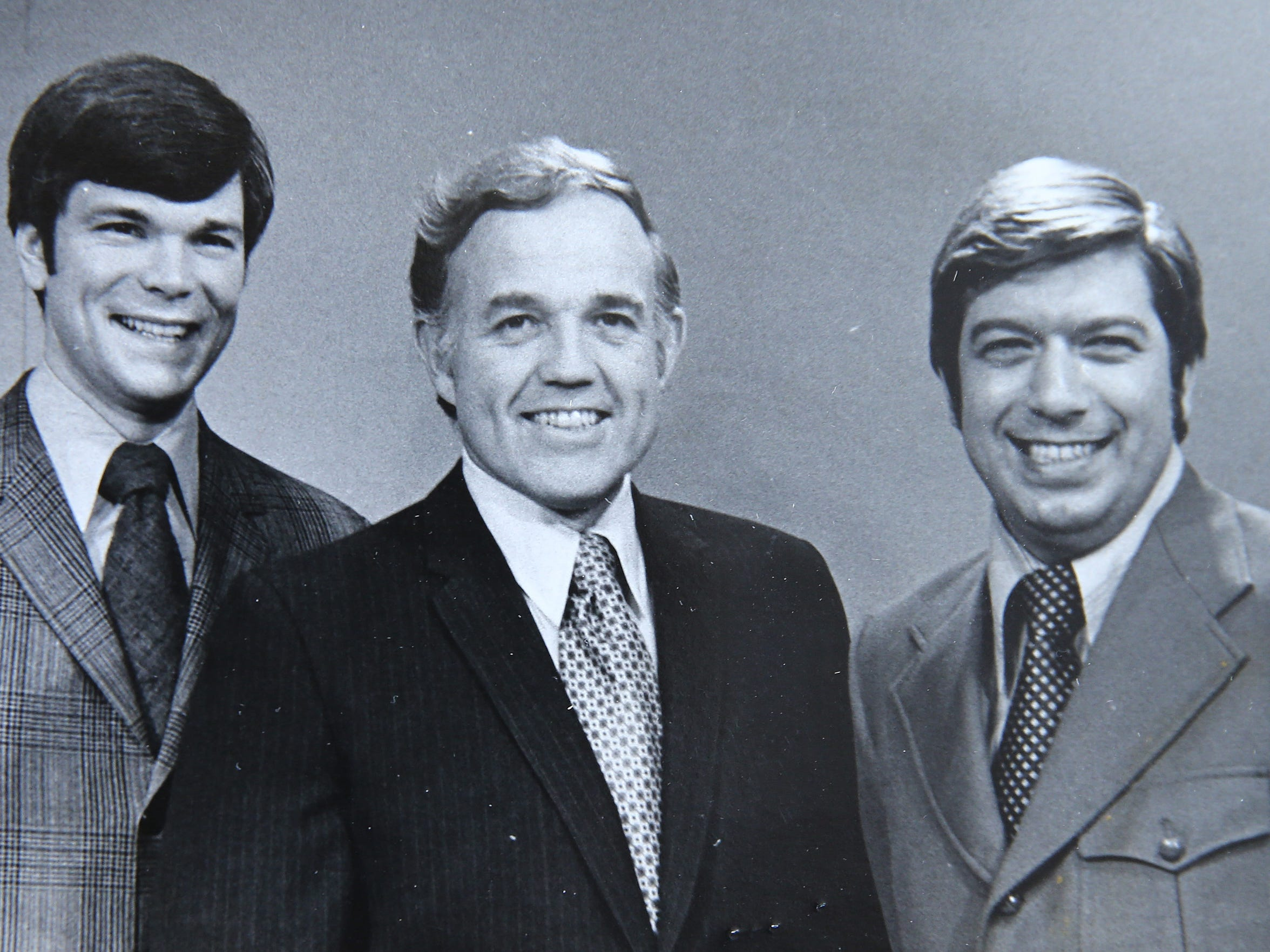 From left to right, Don Alhart with former Channel 13 colleagues, Dick Burt and Ron DeFrance.
