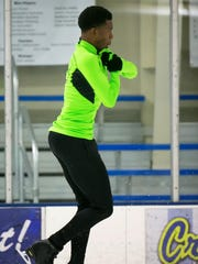 Glasgow High senior Emmanuel Savary practices at the Gold Arena Ice Skating Rink. He has worked his schoolwork into hours and hours and hours of training as an ice skater and was ranked 13th nationally in the senior ranks at the 2016 U.S. championships.