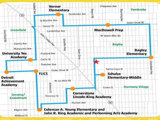 The Northwest Detroit bus loop route as proposed by