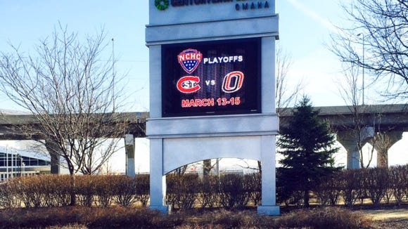 Marquee outside the CenturyLink Center in Omaha, Neb.