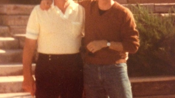 EJ Montini's father, Andy (l), with a guy Montini no longer recognizes.
