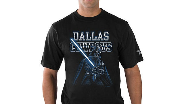 Darth Vader appears on a t-shirt being offered by the Dallas Cowboys' online store.