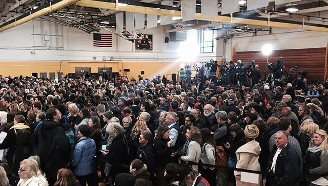 The gym at MCC fills up for Hillary Clinton rally on April 8, 2016.