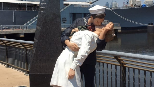 "The statue ""The Kiss"" is on the pier at the Battleship New Jersey Museum and Memorial on the Camden Waterfront. It brings to life a famous photo taken in Times Square when World War II ended. It will be on display until September."