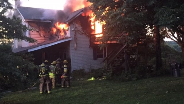 A Saturday night fire severely damaged a home in the 4000 block of Shaws School Road in Chanceford Township.