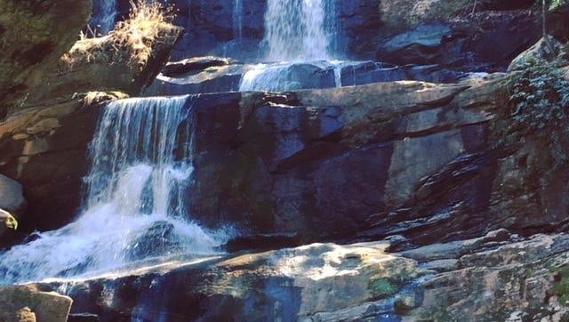 Falls along a trail in Saluda, North Carolina.