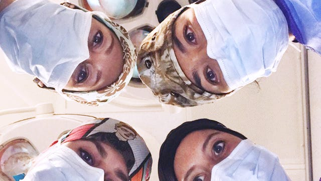 Four surgeons at Cooper University Hospital recreated a social media phenomenon with their own photo. The viral campaign #ILookLikeASurgeon took off in response to a cover illustration in The New Yorker, featuring a group of women preparing to operate on a patient. Shown clockwise from bottom right: Dr. Nicole Fox, trauma surgeon; Dr. Rachel Sensing, trauma surgeon; Dr. Yekaterina Koshkareva, head and neck surgeon, and Dr. Salina Wydo, trauma surgeon.
