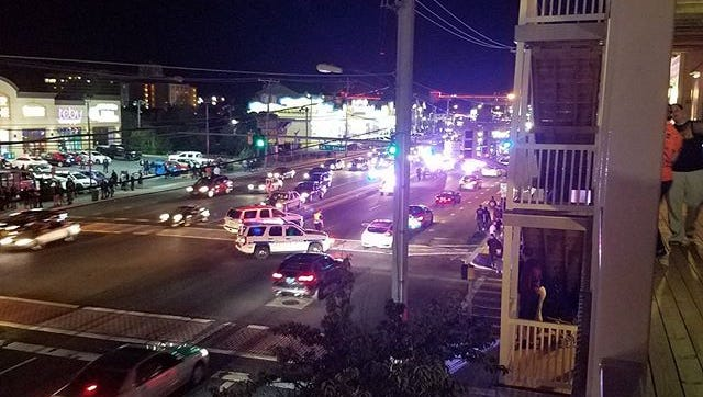 A pedestrian in his mid-20s was struck by an Ocean City Police officer at the intersection 56th Street and Coastal Highway late Friday night, officials say.
