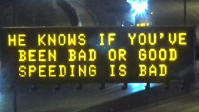 One of four holiday-themed freeway signs the Arizona Department of Transportation posted during the 2017 holiday season.