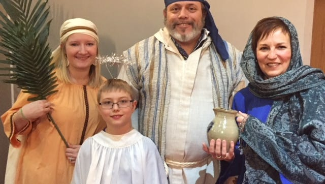 """Abbie Mueller White, Dominic DeVries, Jeff Tavs and Lisa Mielke prepare for th Palm Sunday """"Forsaken"""" musical on March 25 at Immanuel Lutheran, 525 Main Street, Waupun."""
