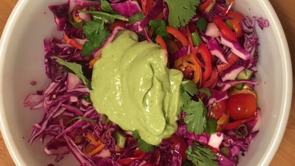 Red cabbage slaw makes a great summer side dish.