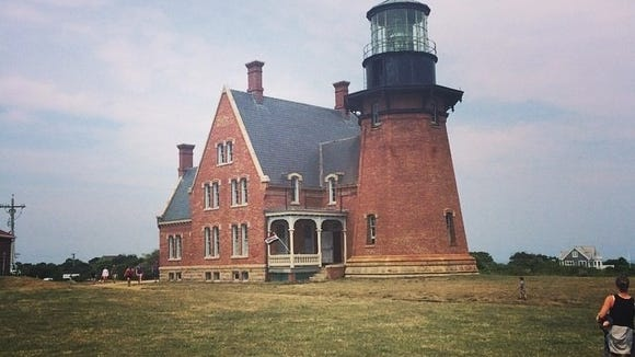 Built in 1875, Block Island Southeast Light overlooking the Mohegan Bluffs, in 1993 the 2,000 ton building was moved back 300 feet due to erosion of the bluffs.