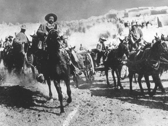 Mexican revolutionary and bandit Pancho Villa rides