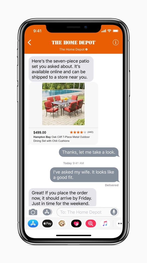 Inside the Messages app, you can communicate directly