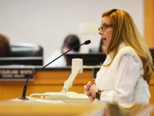 Ashley Atkins at the city council meeting Tuesday afternoon.