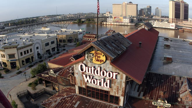 Aerial photos of the Louisiana Boardwalk, Bass Pro Shops and the Shreveport riverfront shot from a hot air balloon.   Shane Bevel/The Times