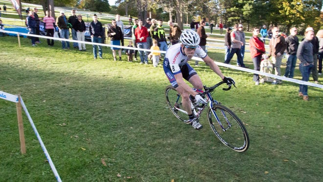 A competitor races at the cyclocross event at Ellison Park in 2015.