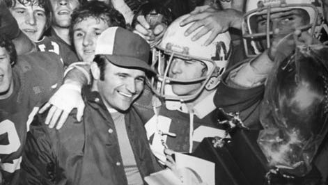 Ken Haupt, pictured here with his Merrillville team after winning the Class 3A championship in 1976 over Cathedral, was the sixth head football coach in Elder High School history. Haupt died Sunday, May 20, 2018, after a lengthy battle with cancer.