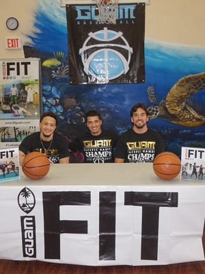 From left, Joe Blas, Will Stinnett, Seve Susuico and Mekeli Wesley, not pictured, will form the Guam national team at the upcoming 2015 FIBA 3x3 Oceania Championships in Gold Coast, Australia. The players held a press conference at IFIT Guam on Thursday, Sept. 3.