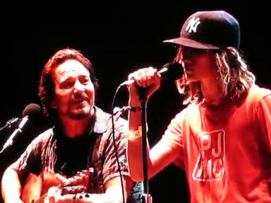 Pearl Jam frontman Eddie Vedder and Victor 12-year-old