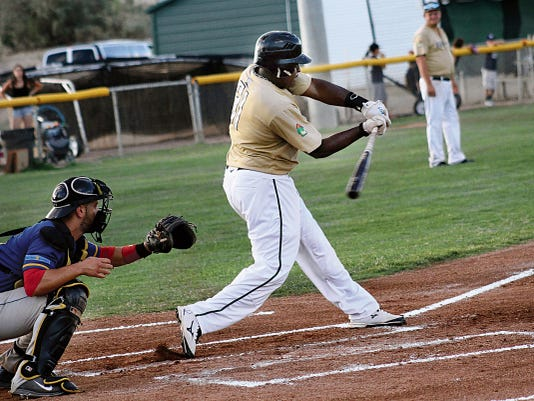 Brandon Burkes connects for a hit Friday at the Griggs Sports Complex.