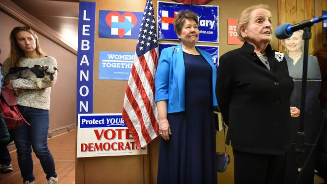 Former Secretary of State Madeleine Albright made a brief appearance in Lebanon Sunday afternoon to meet and encourage Democratic canvassers during the final two days before the national election, Tuesday, Nov. 8. Albright posed for pictures before getting back on the road to visit more Pennsylvania towns.