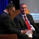 Intel CEO Bryan Krzanich, right, speaks with Jesse Jackson during the PushTech 2020 Summit on May 6, 2015, in San Francisco.