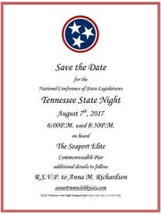 """An invitation to a """"state night"""" reception at the 2017"""