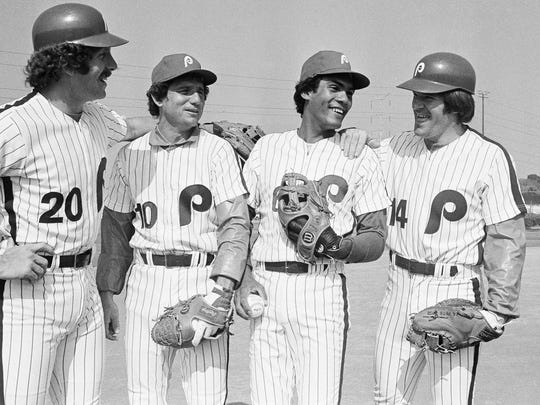 The Phillies' infield in 1979 included (from left) MIke Schmidt, Larry Bowa, Manny Trillo and Pete Rose.