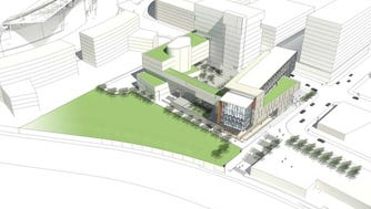 The University of Cincinnati's architectural designs of the proposed law school at The Banks. The rendering was unveiled by the UC board of trustees in February.