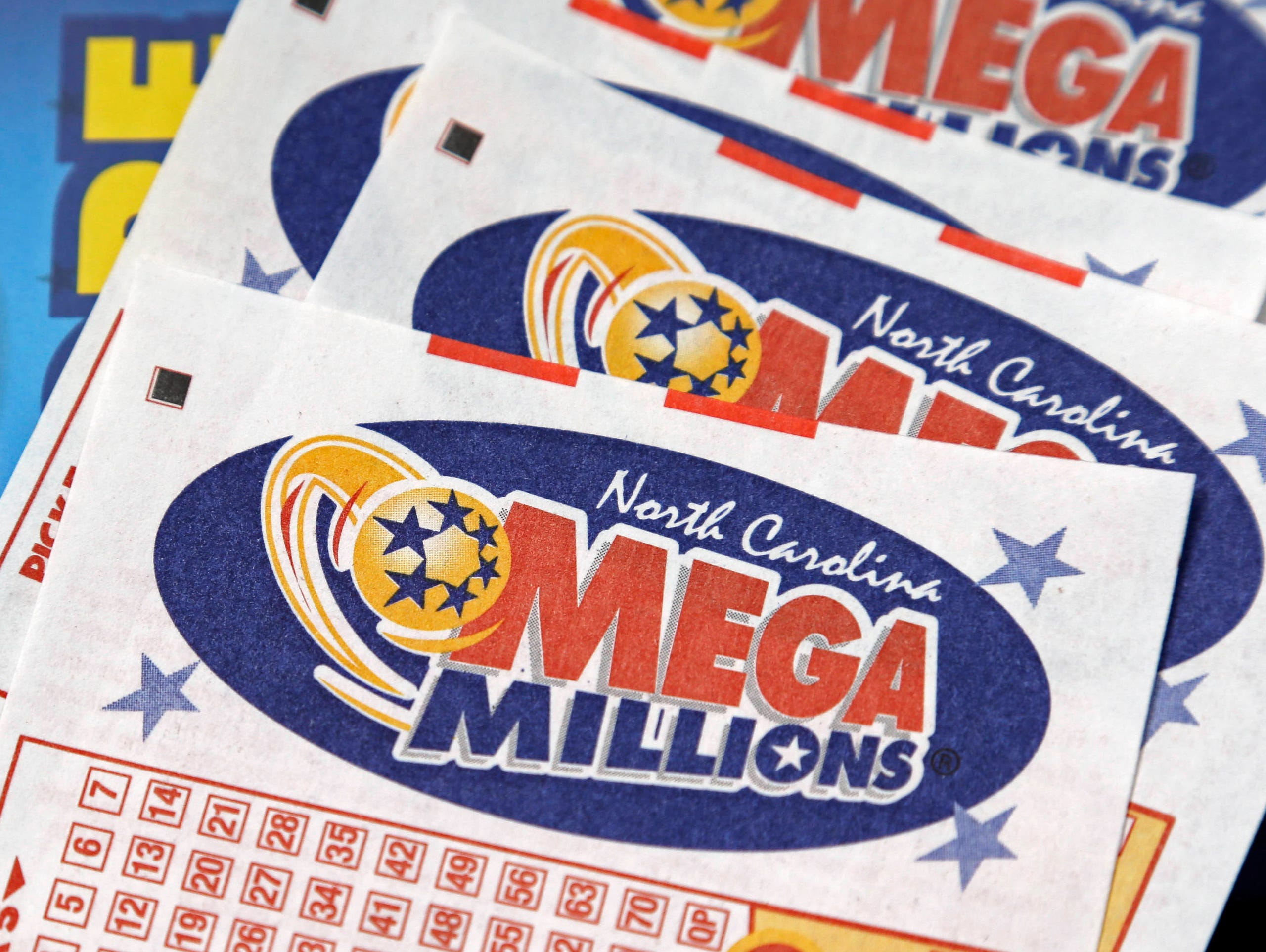 North Carolina Mega Millions lottery tickets rest on
