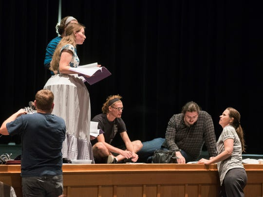 """Tamara McGinnis, lower right, provides direction to Corban University students during a rehearsal for Shakespeare's """"Much Ado About Nothing"""" that opens Nov. 12 at the university."""