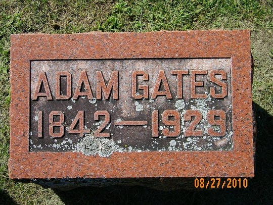 Adam Goetz's gravestone in the St. Michael Cemetery,