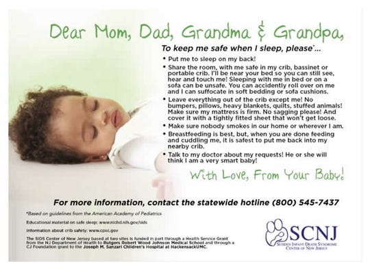 "This postcard prepared by the SIDS Center of New Jersey summarizes ""safe sleep"" recommendations."