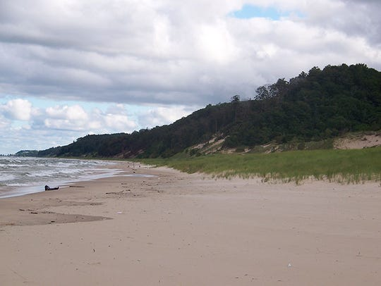 The beach at Saugatuck Dunes State Park on Lake Michigan.
