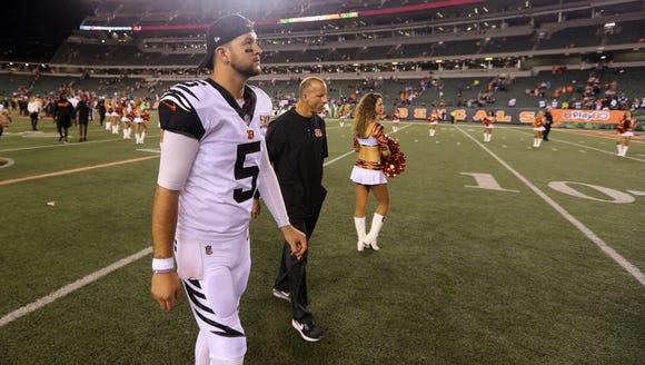 Cincinnati Bengals quarterback AJ McCarron was given